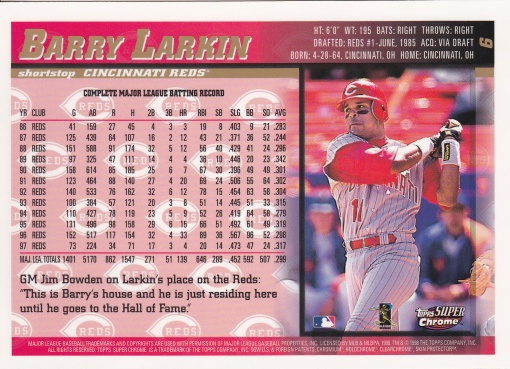 1998 Topps SuperChrome Larkin back