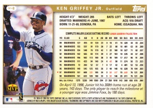 1999 Topps Action Flats Griffey back