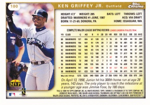 1999 Topps Chrome Griffey back