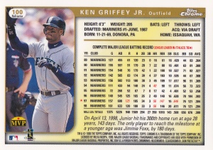 1999 Topps Chrome Refractor Griffey back