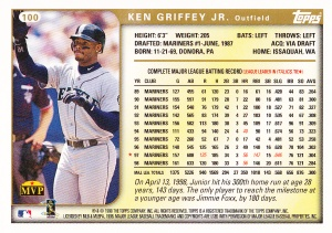 1999 Topps Griffey back