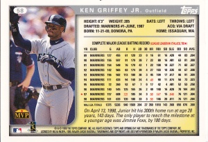 1999 Topps Opening Day Griffey back