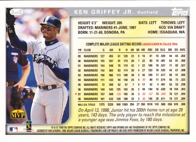1999 Topps Opening Day Oversize Griffey back