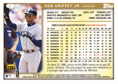 1999 Topps Oversize Griffey back