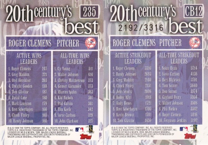 2000 Topps 20th Clemens back