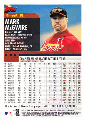 2000 Topps Oversize McGwire back
