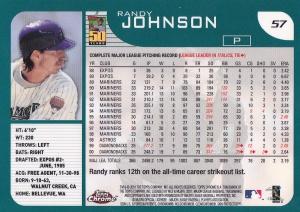 2001 Topps Chrome Randy Johnson back