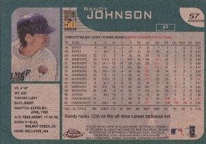 2001 Topps Chrome Retrofractor Randy Johnson back