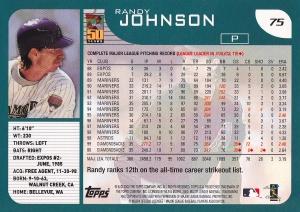 2001 Topps Employee Randy Johnson back