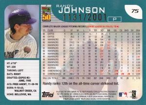 2001 Topps Gold Randy Johnson back