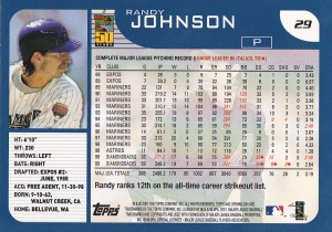2001 Topps Opening Day Randy Johnson back