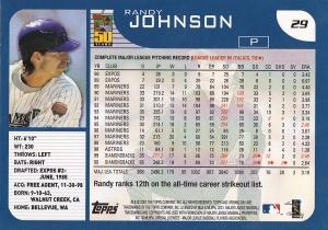 2001 Topps Opening Day Randy Johnson back