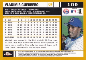 2002 Topps Chrome Gold Refractor Vlad Guerrero back