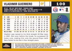 2002 Topps Chrome Gold Refractor Vlad Guerrero back