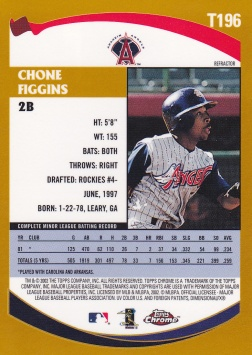 2002 Topps Chrome Traded Refractor Chone Figgins back