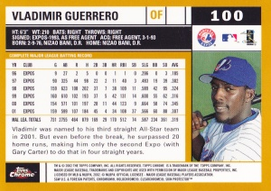 2002 Topps Chrome Vlad Guerrero back