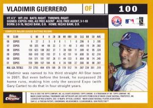 2002 Topps Chrome Vlad Guerrero back