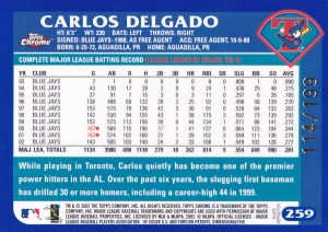 2003 Topps Chrome Black Refractor Delgado back