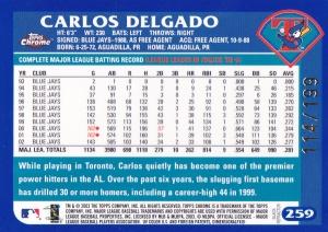 2003 Topps Chrome Black Refractor Delgado back