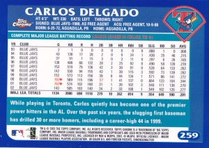 2003 Topps Chrome Delgado back