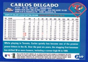 2003 Topps Chrome Delgado back