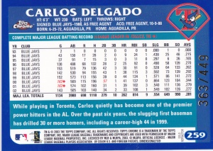 2003 Topps Chrome Gold Refractor Delgado back