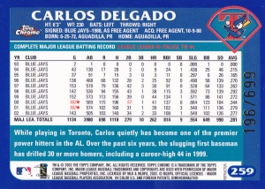 2003 Topps Chrome Refractor Delgado back
