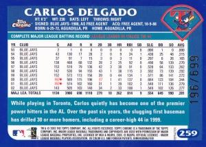 2003 Topps Chrome Refractor Delgado back