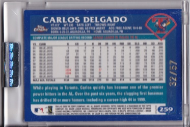 2003 Topps Chrome Uncirculated Xfractor Delgado back