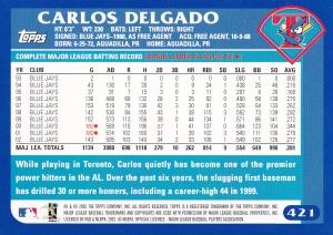 2003 Topps Delgado back