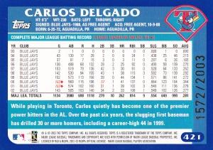 2003 Topps Gold Delgado back