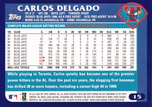 2003 Topps Opening Day Delgado back
