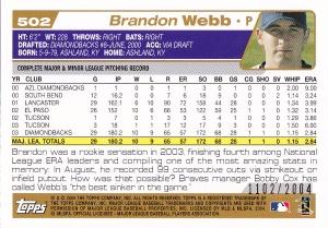 2004 Topps Gold Webb back