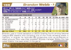 2004 Topps Opening Day Webb back