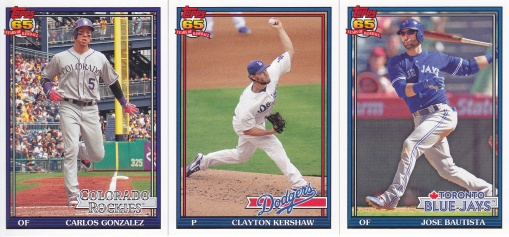 2016 Topps Archives 91 Arenado Kershaw Bautista