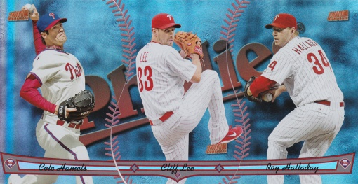 2013 Topps Archives Triumvirate Phillies Hamels Lee Halladay