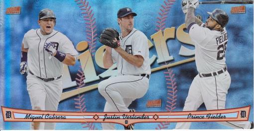 2013 Topps Archives Triumvirate Tigers Cabrera Verlander Fielder